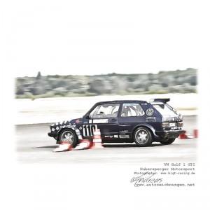 VW Golf 1 GTI-Hubersperger Motorsport cardrawing by www.autozeichnungen.net